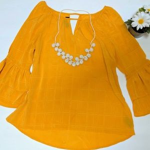 Yellow Open Shoulder Blouse with Bell Sleeves